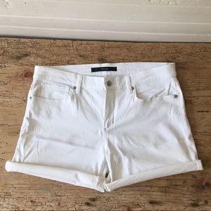 "Joe's Jeans 4 1/2"" cuffed white jean shorts"